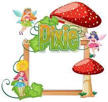 Pixie-Logos mit leerem Banner auf weißem Hintergrund