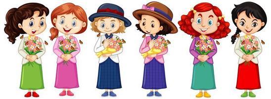 uppsättning söta mångkulturella tjejkaraktärer