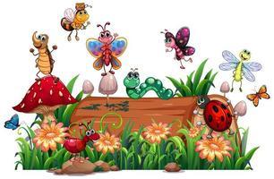 olika djur trädgård med virke vektor