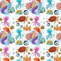 sjöjungfru och havsdjur på vit bakgrund vektor