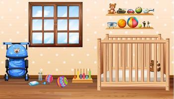 Babyzimmer mit Kabeljau und Spielzeug vektor