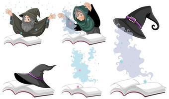 uppsättning häxa eller trollkarlens magiska hatt vektor