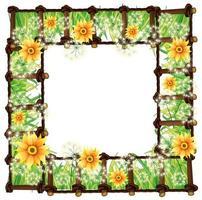 Rahmenvorlage mit gelben Blumen vektor