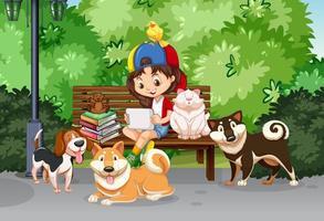 Mädchen und Haustier im Park vektor