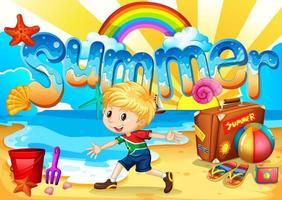 liten pojke njuta av sommaren på stranden vektor