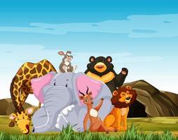 gruppen av vilda djur poserar vektor