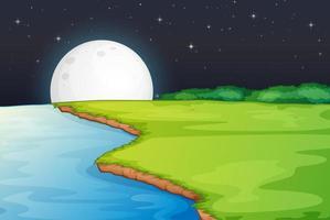 flodsidan scen med stor måne på natten vektor