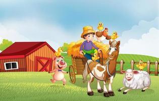 gårdsplats i naturen med ladugård och häst vektor