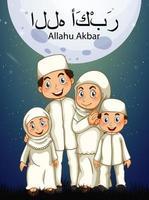 nahöstliche Familie mit Allahu Akbar Schriftzug