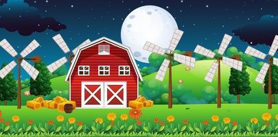 Bauernhofszene in der Nacht vektor