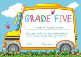 Zertifikat mit Hintergrund des Schulbusses im Park vektor
