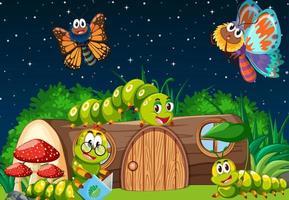 Schmetterlinge und Würmer leben nachts in der Gartenszene vektor