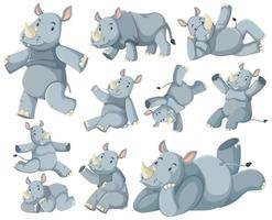 Gruppe von Nashorn-Zeichentrickfigur vektor