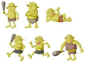 uppsättning gröna troll i olika poser