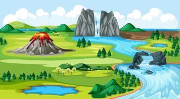Wiesenpark und Vulkan mit Wasserfall