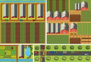 Reihe von Bauernhöfen und Straßen von oben gesehen vektor