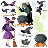 uppsättning av trollkarl eller häxor och magiska verktyg vektor