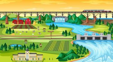 Farm Field Town und Schule und Bridge Sky Train vektor