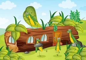 gräshoppa och trähus