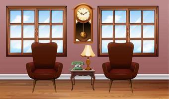 rum med två bruna fåtöljer