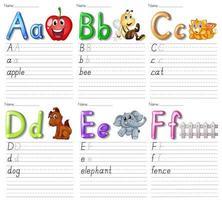 uppsättning alfabetets kalkylblad på vitt papper