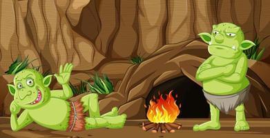 Kobolde oder Trolle mit Höhlenhaus vektor
