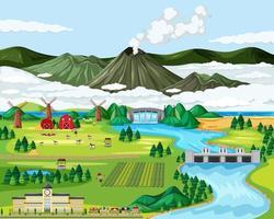 Landwirtschaft ländliche Landschaftsszene vektor