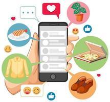 söker på smartphone med ikoner