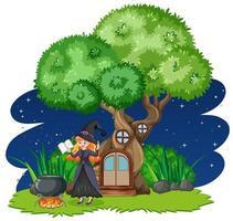 Hexe steht neben Baumhaus