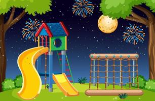 Kinderspielplatz im Park mit großem Mond vektor