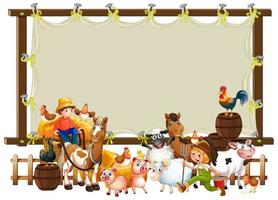 Leinwand Holzrahmen mit Tierfarm Set vektor