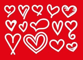 Vektor uppsättning av vita hjärta ikoner