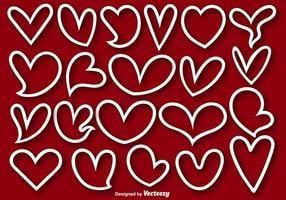 Sammlung von 21 Herz gezeichneten Formen - Vektor
