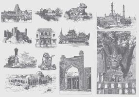 Grå Indien Illustrationer