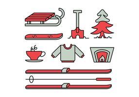 Vinteraktiviteter ikonuppsättning