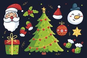 Hand gezeichnete Weihnachtsikonen gesetzt vektor