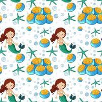 sömlös sjöjungfru och havsdjur tecknad stil vektor