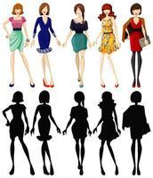 uppsättning fashionabla damer med silhuetter vektor