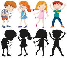 Satz verschiedene Kinder mit Silhouetten vektor