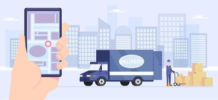 Servicebereitstellung und Logistik mit Telefon-App-Konzept vektor