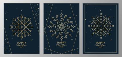 uppsättning nya år snöflinga kort