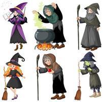 uppsättning av trollkarl eller häxor med magiska verktyg vektor