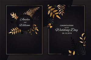 bröllop blommig uppsättning inbjudningskort vektor