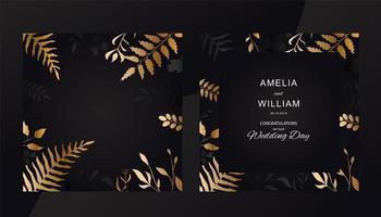 bröllop inbjudningskort med gyllene blad stil vektor