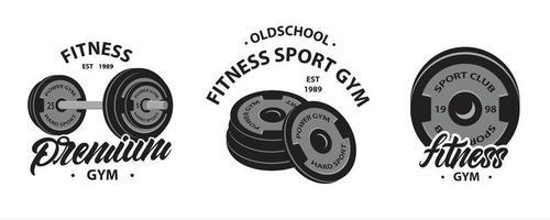 uppsättning bodybuilding, fitness logotyper med tyngdlyftning skivstång vektor