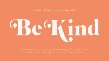 sei freundlich klassische elegante Typografie vektor