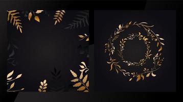guld blommiga uppsättning kort vektor