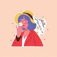 feministische und positive Zitataufkleberillustration