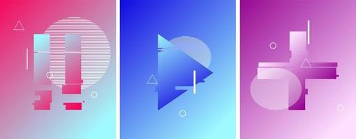 Pause, Wiedergabe und Taste im duotonen futuristischen Stil vektor