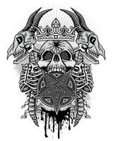grunge skalle med getskelett och pentagram vektor